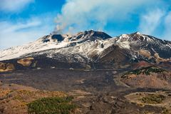 Silvestri Craters - Etna Volcano - Sicily Italy. Silvestri craters and mount Etna Volcano with snow, Sicily island, Catania, Italy Sicilia, Italia stock images