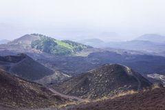 The Silvestri Craters on Mount Etna, active volcano on the east coast of Sicily, Italy.  stock photo