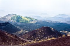 Silvestri Craters of Mount Etna, active volcano on the east coast of Sicily, Italy.  stock image