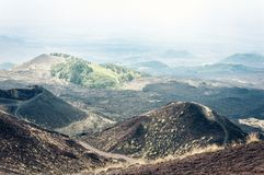 Silvestri Craters of Mount Etna, active volcano on the east coast of Sicily, Italy.  stock photo