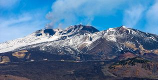 Silvestri Craters - Etna Volcano - Sicily Italy. Silvestri craters and mount Etna Volcano with snow, Sicily island, Catania, Italy Sicilia, Italia Europe royalty free stock images