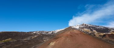 Silvestri Craters - Etna Volcano - Sicily Italy. Silvestri craters and mount Etna Volcano with snow, Sicily island, Catania, Italy Sicilia, Italia Europe royalty free stock image