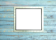 SilveVintage picture frame on blue wood background Stock Image