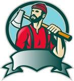 Silvicoltore del boscaiolo con l'ascia illustrazione di stock
