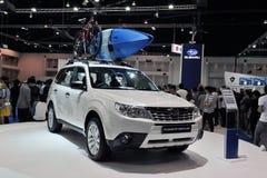Silvicoltore di Subaru su visualizzazione ad un salone dell'automobile Fotografie Stock Libere da Diritti