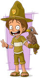 Silvicoltore sveglio del fumetto con l'uccello illustrazione vettoriale