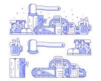 Silvicoltura ed insieme dell'icona della segheria illustrazione vettoriale