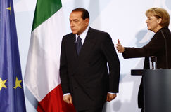 Silvio Berlusconi, Angela Merkel Royalty Free Stock Image