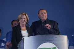 Silvio berlusconi e adriana poli bortone. Lecce 15/05/2015 silvio berlusconi and adriana poli bortone conference press lecce election day puglia forza italia Stock Image