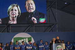 Silvio berlusconi e adriana poli bortone. Lecce 15/05/2015 silvio berlusconi and adriana poli bortone conference press lecce election day puglia forza italia Royalty Free Stock Image