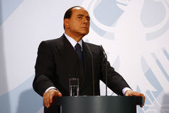 Silvio Berlusconi. OCTOBER 6, 2008 - BERLIN: Italian Prime Minister Silvio Berlusconi at a press conference after a meeting with the German Chancellor in the Royalty Free Stock Image