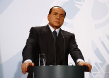 Silvio Berlusconi. OCTOBER 6, 2008 - BERLIN: Italian Prime Minister Silvio Berlusconi at a press conference after a meeting with the German Chancellor in the Royalty Free Stock Photos