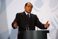 Silvio Berlusconi. OCTOBER 6, 2008 - BERLIN: Italian Prime Minister Silvio Berlusconi at a press conference after a meeting with the German Chancellor in the Royalty Free Stock Photography