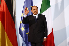 Silvio Berlusconi. OCTOBER 6, 2008 - BERLIN: Italian Prime Minister Silvio Berlusconi at a press conference after a meeting with the German Chancellor in the Stock Photography