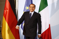 Silvio Berlusconi. OCTOBER 6, 2008 - BERLIN: Italian Prime Minister Silvio Berlusconi at a press conference after a meeting with the German Chancellor in the Royalty Free Stock Photo