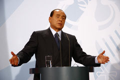 Silvio Berlusconi. OCTOBER 6, 2008 - BERLIN: Italian Prime Minister Silvio Berlusconi at a press conference after a meeting with the German Chancellor in the Stock Image