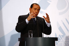 Silvio Berlusconi. OCTOBER 6, 2008 - BERLIN: Italian Prime Minister Silvio Berlusconi at a press conference after a meeting with the German Chancellor in the Stock Images