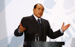 Silvio Berlusconi. OCTOBER 6, 2008 - BERLIN: Italian Prime Minister Silvio Berlusconi at a press conference after a meeting with the German Chancellor in the Stock Photo