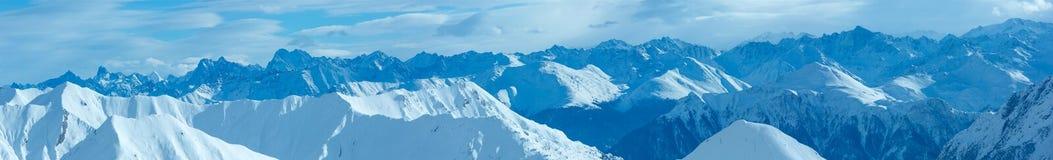 Silvretta Alps winter view (Austria). Panorama. Stock Photos