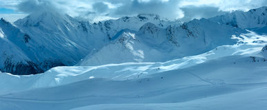 Silvretta Alps winter view (Austria). Panorama. Stock Photo