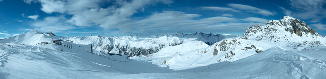 Silvretta Alps winter view (Austria). Panorama. Stock Photos