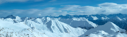Silvretta Alps winter view (Austria). Panorama. Royalty Free Stock Photography