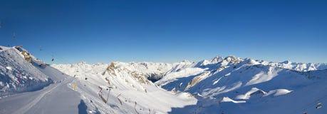 Silvretta Arena ski resort. Panoramic view of Silvretta Arena ski resort near Ischgal village, Paznaun Valley, Tirol, Austria Royalty Free Stock Photo