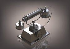 Silvrig telefon på en grå färg vektor illustrationer