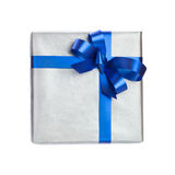 Silxer gift box with blue ribbon Royalty Free Stock Images
