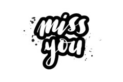 Brush lettering miss you stock illustration