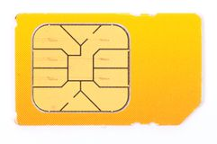Sim card. An image of mobile sim card on white royalty free stock images