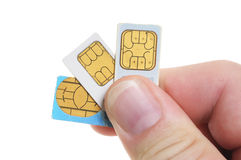 Sim-card. S like they are used in mobile phones Royalty Free Stock Image