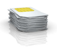 Sim card. One stack of many sim cards (3d render Royalty Free Stock Photos