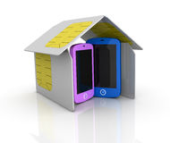 Sim card. One house made with sim cards with two cell phones within it (3d render Stock Photography
