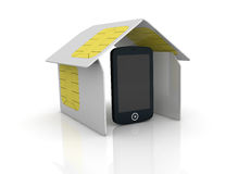 Sim card. One house made with sim cards with one cell phone within it (3d render Stock Photos