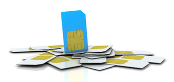 Sim card. One pile of sim cards with the one in different color (3d render Royalty Free Stock Images