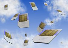 Sim card. A number of sim cards falling from the sky Stock Photos