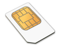 A sim card. A white isolated sim card for mobile phone Royalty Free Stock Photos
