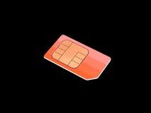 SIM CARD. Orange sim card on a black background Stock Images