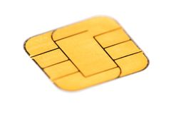 Sim card. Macro over white Royalty Free Stock Image