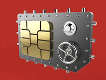 Sim card as vault safe, mobile online connectivity security concept. high safety level metaphor, web protection Royalty Free Stock Image