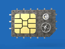 Sim card as vault safe, mobile online connectivity security concept. high safety level metaphor, web protection Royalty Free Stock Images