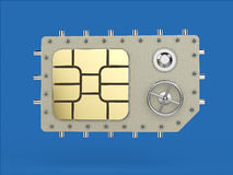 Sim card as vault safe, mobile online connectivity security concept. high safety level metaphor, web protection Stock Photos