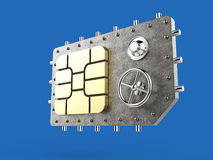 Sim card as vault safe, mobile online connectivity security concept. high safety level metaphor, web protection Stock Images