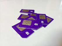 Sim Card & x22;Axis 4G& x22; gsm stock photography