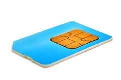 Sim card. Blue sim card isolated on white background Stock Images