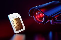 Sim card checked by cctv. Spying on mobile data transfers or phone calls concept. 3D rendering. Sim card checked by cctv. Spying on mobile data transfers or vector illustration