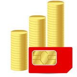 Sim card with coins Royalty Free Stock Image