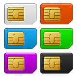 Sim Card Color Set. Vector Illustration Royalty Free Stock Photos