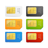 Sim Card Colorful Set vektor Royaltyfri Bild